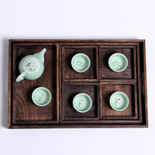 Solid wood tea tray tea set drawer Sub-grid type drainageTray Kitchen Storage Fruit Bowl with Dried Fruit Snack Box handmade(China)
