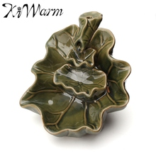 KiWarm Traditional Design Green Lotus Flower Ceramic Backflow Incense Burner Stick Incense Burner Home Office Decoration