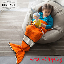 "Mermaid Blanket ,Pattern Crochet Mermaid Tail,Knitted Mermaid Tail Blanket Child 27.5""*55"" Bedding Sofa Sleeping Bag Kids(China)"