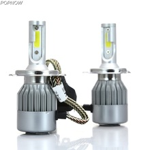 Pair 9007/HB5 H4/HB2 Hi/Lo Car LED Headlight Bulbs C6 72W 7600LM H7 H1 H11 H3 COB Auto Headlamp Replacement Kits White 6000K(China)