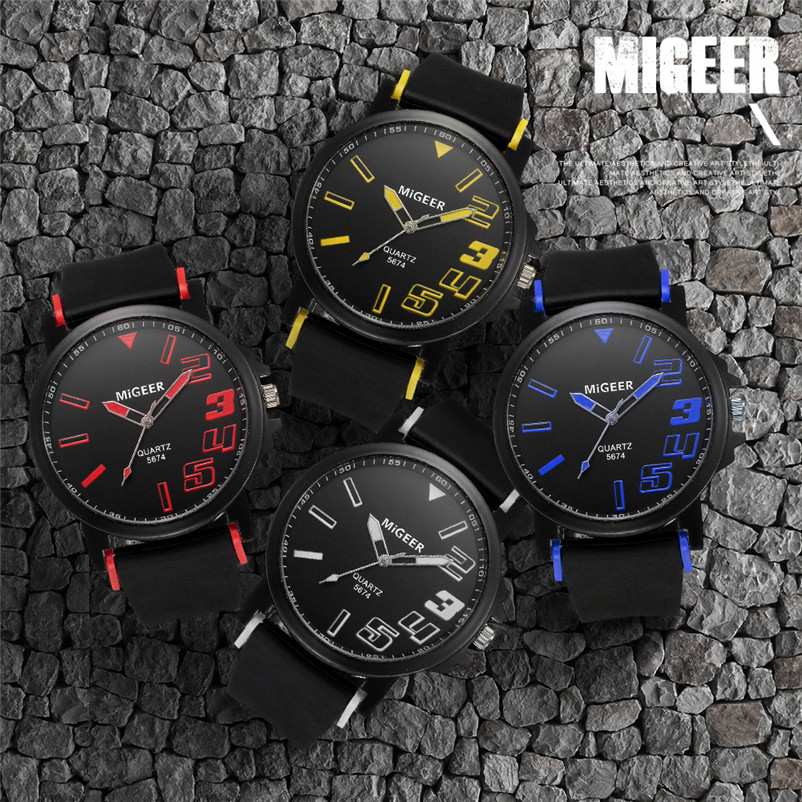 New Listing Saat Erkekler Men's Watch Casual Men Fashion Silicone strap Sport Cool Quartz Analog Hours Wrist Watch Clock 3M24 (6)
