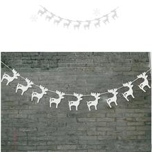 3m Moose Garlands Christmas Decoration Hanging Paper Banners Party Home Birthday Decor Christmas Trees Ornament With Ribbon(China)
