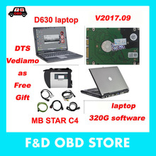 V2017.9 DTS MB Star SD Connect Compact 4 with 320G HDD Software Xentry+DAS+EPC+WIS mb star c4 with Laptop D630 in stock DHL Free(China)