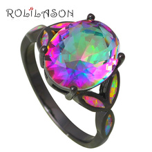 Silver Stamped Jewelry Mystic Rainbow Crystal Charming Pink Fire Opal Rings USA size #5#6#7#8#9 Fashion Jewelry OR765(China)