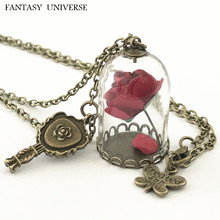 FANTASY UNIVERSE Freeshipping 20pc a lot Beauty and the beast Enchanted Rose in Terrarium and mirror charm necklace SJFNHBK01
