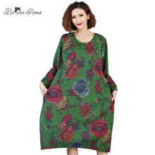 BelineRosa 2018 Women's Spring Dresses Vintage Style Dark Green Floral Printing Long Sleeve Dresses for Women TYW00708(China)