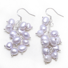 1 Pair Hot Sale Grape Natural Rearl Freshwater Pearl Drop Dangles Earring Wedding Bridal New Fashion Cluster Pearl Earrings Gift