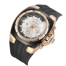 Vogue Luxury V6 Strips Hour Marks Round Dial Quartz Analog Silicone Rubber Watch Christmas Gift Men's sports watches(China)