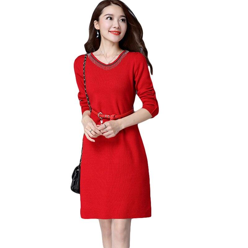 Women Knitted Dress V-Neck Tassel Long Sleeve Solid Pullover Knitted Dresses 2018 New Spring Winter Women Sweater Dress CM2256Îäåæäà è àêñåññóàðû<br><br>