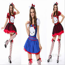 Adult Red Blue Fancy Dress Sexy Women Cosplay Maid Costume Halloween Hello Kitty Costume