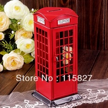 Min order$20(mixed items) ENGLAND Style Telephone Booth IRON Money Saving Box Painted Retro Telephone Box house shop decoration