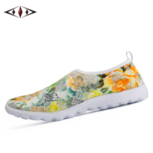 2016 Printing Women Sneakers Summer Breathable Air Mesh Light Running Shoes  Heigh Slip-On Lady Sport Shoes FT1502