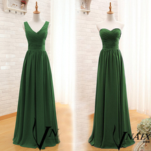 BW628 Elegant Chiffon Black Bridesmaid Dresses 2017 Customized V Neck Women Maxi Dress Cheap Two Styles Wedding Guest Dress