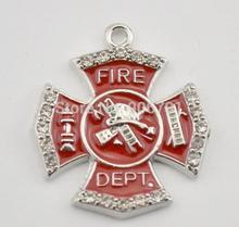 New Arrival 50pcs/lot Zinc Alloy Antique Silver and Rhodium Plated  fire department hand stamped ladder pendants decoration