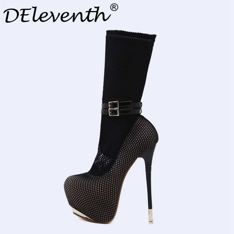 2017 New Novelty Platform Buckle Strap Air mesh Frework Ultra High Heels Woman Shoes Sexy Boots Party Dress Shoes Ladies shoes<br>