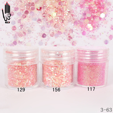 1 Jar/Box 10ml 3D Nail Light Pink Red Mix Nail Glitter Powder Sequins Powder For Nail Art Decoration Optional 300 Colors 3-63