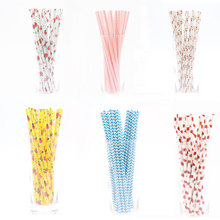 25pcs Disposable drink Straws stripe Flower watermelon for Baby Shower Wedding Birthday Party Decoration Supplies(China)