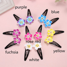 2pairs(4pcs/lot) Hawaiian Polymer Clay Fimo Plumeria artificial Flower BB Hair Clip Pins For Girls Holiday Headdress Accessories(China)