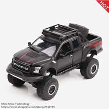 MINI AUTO 1:32 kids toys Ford raptor F150 Pickup truck metal toy cars model for children music car gifts Flashing sound for boys(China)