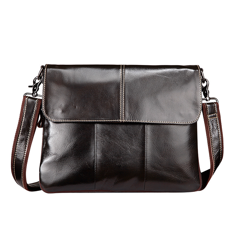 Luxury Genuine Leather Casual&amp;Business Bag Mens Crossbody Shoulder Bag Messenger Zipper Bag For Ipad Laptop Computer<br>