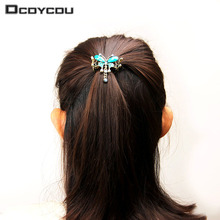 2PCS Elegant Lady Turquoise Butterfly Flower Hairpins Vintage Hair Barrettes Girl Crystal Butterfly Hair Clip Hair Accessories(China)