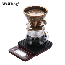 WeiHeng Mini Drip Digital Coffee Scale with Timer & Silicone pad 3KG 0.1g Electrinoic Kitchen Scale Weighting Scale