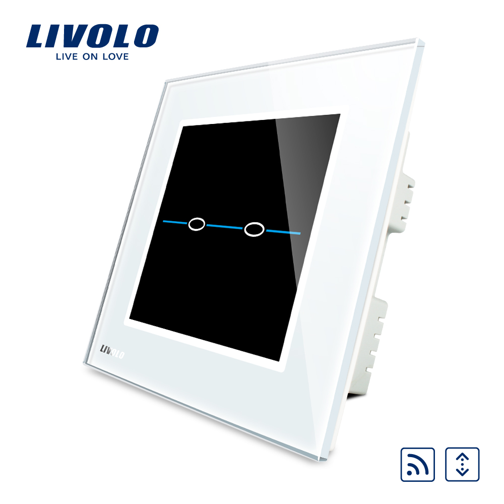 Livolo UK Standard Remote Home Wall Curtain Switch,AC 220~250V,White Crystal Glass Panel, ,VL-C302WR-31<br>