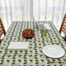 2017 New Arrival Spring Linen Table Cloth Green Leaves Pa Printed Tablecloth Table Cover manteles para mesa Free Shipping(China)