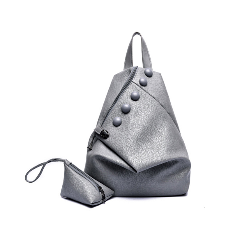 Korean character gray ladies leisure backpack designer high quality PU leather womens bags soft lether travel backpacks 4colors<br><br>Aliexpress