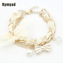 Bracelets For Women Simulated Pearl Charm Gold Color Bracelets Bangles Women Fashion Bow pulseira feminina  Bracelet femme