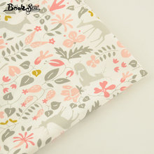 Booksew Flower And Sika Deer Pattern 100% Cotton Twill Fabric Home Textile Quilting Tilda For Bedding Baby Craft Needlework(China)
