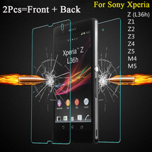 2PCS = Front + Back Screen Protector Tempered Glass Film for Sony Xperia Z L36H Z1 L39H Z2 Z3 Compact Mini Z4 Z5 M4 Aqua M5