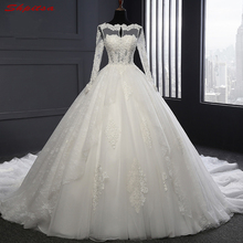 Buy Long Sleeve Lace Wedding Dresses Ball Gown Pearls Tulle Wedding Gowns Weding Bridal Bride Dresses Weddingdress vestido de noiva for $169.20 in AliExpress store