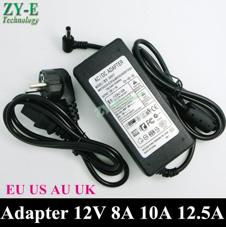 1X DC Power Supply 12V 10A  led power supply AC110/220V Converter Adapter EU Plug 5.5 x 2.1mm 5050 Strip lihgt transformer<br>