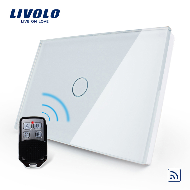 Livolo US/AU Standard 1gang Remote Switch,AC 110~250V,White Glass Panel ,switch with mini remote controller, C301R-81VL-RMT-02<br>