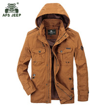 ! AFS JEEP 2017 European men autumn casual brand hooded khaki jacket coat spring man fashion army green jackets orange red coats
