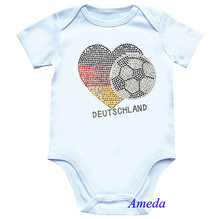 Baby Rhinestone World Cup Germany Flag Heart Football White Short Sleeves Romper 0-12M(Hong Kong)
