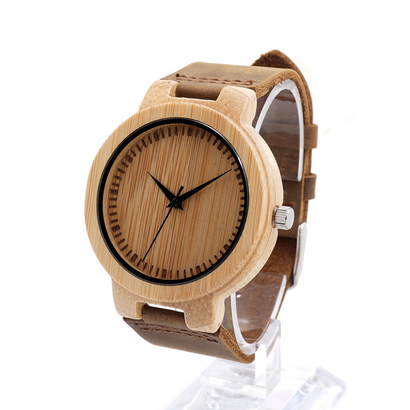 BOBO BIRD D13 Mens Wood Quartz-Watches luxury Brand Bamboo Dial Wristwatches with Leather Strap Relogio Masculino Mujer 2016<br><br>Aliexpress