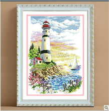 Factory Sale Needlework Embroidery Cross Stitch Kit Lighthouse Beacon Oil Painting Sea
