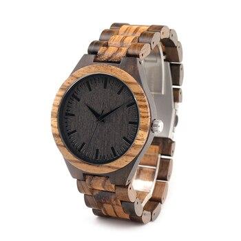BOBO Zabra D30 Top Diseñador de la Marca Para Hombre Reloj De Madera De Madera de AVES de bambú de Cuarzo para Hombres Japón miyota Reloj de Los Hombres de Regalo caja