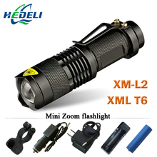Mini Led flashlight Zoom CREE XM-L2 XML T6 Torch Flash light rechargeable Flashlight 3800 Lumen Use 18650 rechargeable battery