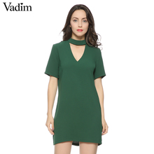 women sexy cut out V neck dress short sleeve mini dresses solid black green ladies summer casual streetwear vestidos QZ2628(China)