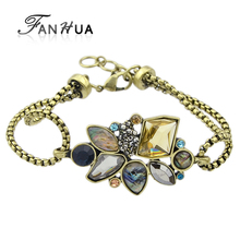 FANHUA Retro Style New Fashion Flower Bracelet For Women Jewelry Factory Price