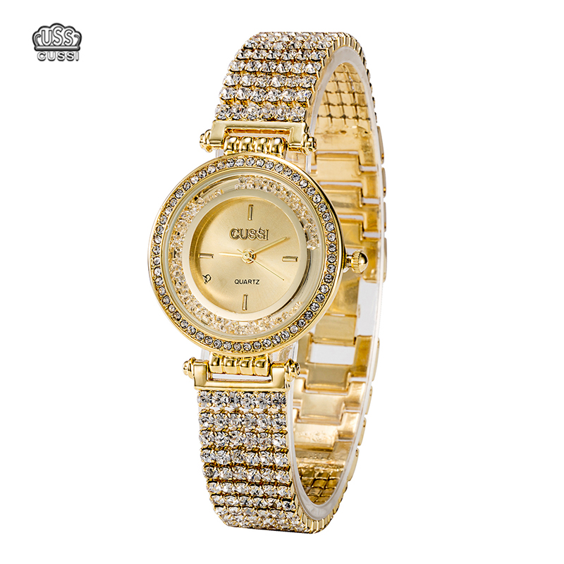 CUSSI High Quality Luxury Quartz Watch Full Diamond Watch Dial/Watch Band Woman Gold Ladies Gift Dress clock female Feminino New<br>