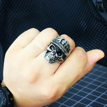 Punk Men Ring 316L Stainless Steel wolrd Dictator ring New Designed skull Antique Men Jewelry(China)