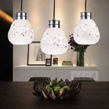 Fashion Simple 3 Heads LED Pendant Lamp Contemporary Style Creative Restaurant glass Lampshade Pendant Lights for Home lighting