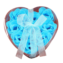 9Pcs Scented Rose Flower Petal Bath Body Soap Wedding Party Gift(Blue)(China)