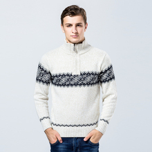 Men's Sweaters 2017 Men's Mandarin Collar Flat Knitted Thick Sweaters Loose Casual Long Sleeves Pattern Pullover Size S-XXL(China)