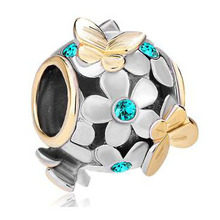 Fit Pandora charm bracelets Silver 22k Gold Blue Flower Golden Butterfly Charm Bracelet beads for jewelry making(China)