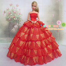 new arrvial high quality elegant red color wedding dress for FR doll for Barbie doll wedding dress